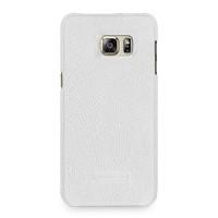 Кожаный чехол накладка (нат. кожа) серия Back Cover для Samsung Galaxy S6 Edge Plus Белый