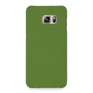 Кожаный чехол накладка (нат. кожа) серия Back Cover для Samsung Galaxy S6 Edge Plus Зеленый