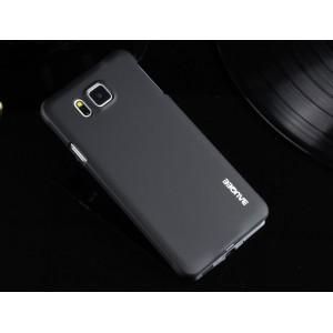 Пластиковый матовый металлик чехол для Samsung Galaxy Alpha Черный