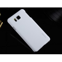 Пластиковый матовый металлик чехол для Samsung Galaxy Alpha Белый