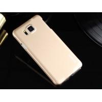 Пластиковый матовый металлик чехол для Samsung Galaxy Alpha Желтый