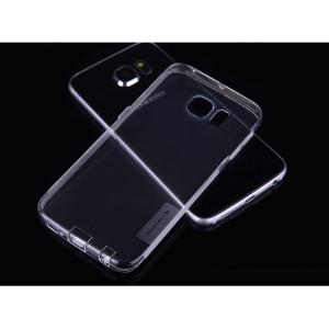 Ультратонкий силиконовый транспарентный чехол с нескользящими гранями и защитными заглушками для Samsung Galaxy S6 Edge Plus Белый
