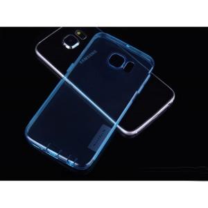 Ультратонкий силиконовый транспарентный чехол с нескользящими гранями и защитными заглушками для Samsung Galaxy S6 Edge Plus Синий