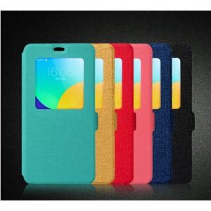 Текстурный чехол флип на пластиковой основе с окном вызова для Meizu M1 Note