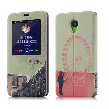 Дизайнерский принтованный чехол флип на пластиковой основе с окном вызова для Meizu M1 Note