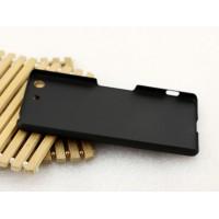Пластиковый матовый металлик чехол для Sony Xperia M5 Черный