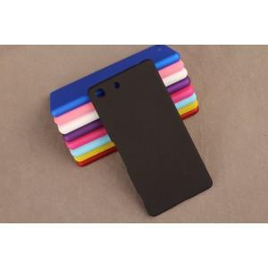 Пластиковый матовый непрозрачный чехол для Sony Xperia M5 Черный