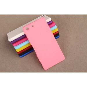 Пластиковый матовый непрозрачный чехол для Sony Xperia M5 Розовый