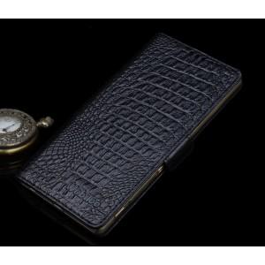 Кожаный чехол портмоне (нат. кожа крокодила) для Sony Xperia M5 Черный