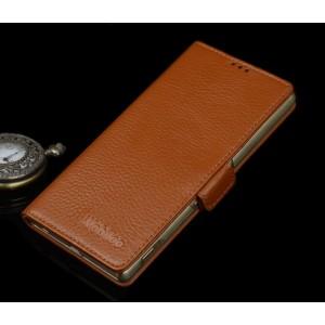 Кожаный чехол горизонтальная книжка (нат. кожа) с крепежной застежкой для Sony Xperia M5 Бежевый