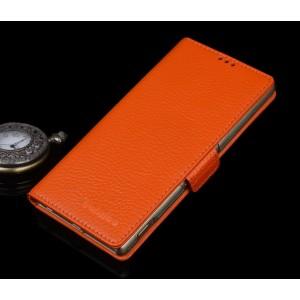 Кожаный чехол горизонтальная книжка (нат. кожа) с крепежной застежкой для Sony Xperia M5 Оранжевый
