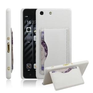 Кожаный чехол накладка с подставкой и отделением для карт для Sony Xperia M5 Белый