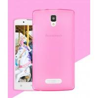 Силиконовый матовый полупрозрачный чехол для Lenovo A2010 Розовый