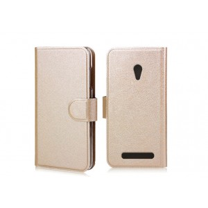 Чехол горизонтальная книжка с крепежной застежкой и отделение для карт для ASUS Zenfone Go Бежевый