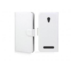 Чехол горизонтальная книжка с крепежной застежкой и отделение для карт для ASUS Zenfone Go Белый