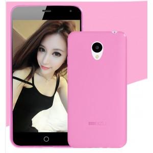 Силиконовый матовый полупрозрачный чехол для Meizu M2 Mini Розовый