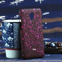 Пластиковый матовый непрозрачный чехол с голографическим принтом Звезды для Meizu M2 Mini Розовый