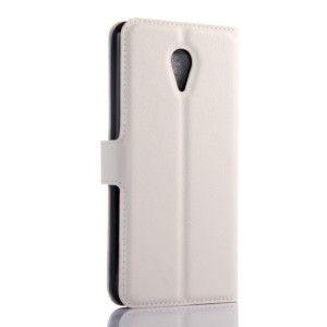 Чехол портмоне подставка на пластиковой основе с защелкой для Meizu M2 Mini Белый