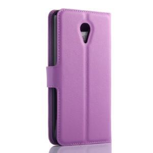 Чехол портмоне подставка на пластиковой основе с защелкой для Meizu M2 Mini Фиолетовый