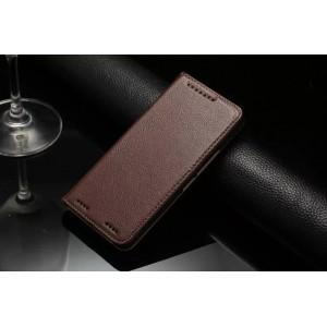 Кожаный чехол портмоне подставка с отделением для карт для HTC One M9+ Коричневый