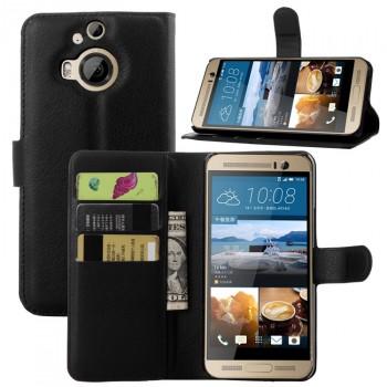 Кожаный чехол портмоне подставка на пластиковой основе с защелкой для HTC One M9+