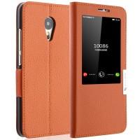 Кожаный чехол флип подставка на пластиковой основе с окном вызова для Meizu MX5 Оранжевый