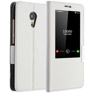 Кожаный чехол флип подставка на пластиковой основе с окном вызова для Meizu MX5 Белый