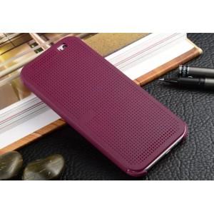 Точечный чехол смарт флип с функциями оповещения для HTC One M9+ Фиолетовый