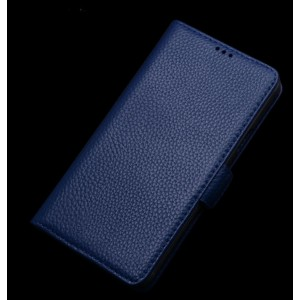 Кожаный чехол портмоне горизонтальная книжка (нат. кожа) с крепежной застежкой для ASUS Zenfone Selfie Синий