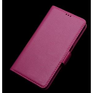 Кожаный чехол портмоне горизонтальная книжка (нат. кожа) с крепежной застежкой для ASUS Zenfone Selfie Розовый