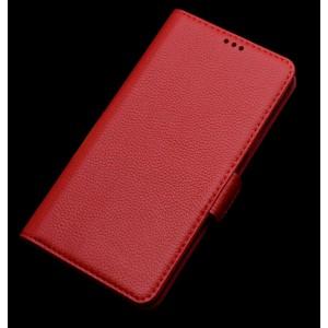 Кожаный чехол портмоне горизонтальная книжка (нат. кожа) с крепежной застежкой для ASUS Zenfone Selfie Красный
