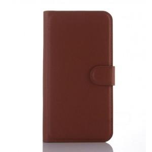 Чехол портмоне подставка с крепежной застежкой для ASUS Zenfone Selfie Коричневый