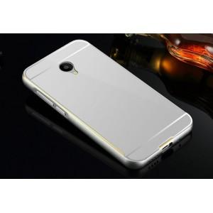Двухкомпонентный чехол с металлическим бампером с золотой окантовкой и поликарбонатной накладкой для Meizu M2 Mini Серый
