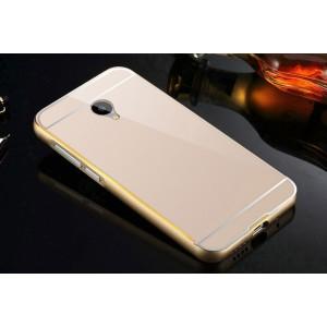 Двухкомпонентный чехол с металлическим бампером с золотой окантовкой и поликарбонатной накладкой для Meizu M2 Mini Бежевый