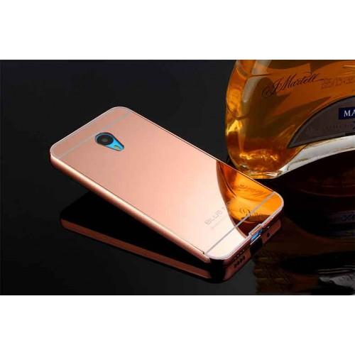 Двухкомпонентный чехол с металлическим бампером и поликарбонатной зеркальной накладкой для Meizu M1 Note