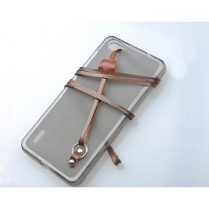 Силиконовый матовый полупрозрачный чехол с кожаным ремешком для HTC One M9+