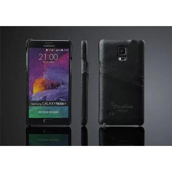 Дизайнерский кожаный чехол матовая накладка с отделениями для карт для Samsung Galaxy Note 4