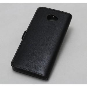 Кожаный чехол горизонтальная книжка (нат. кожа) с крепежной застежкой для HTC Butterfly S Черный