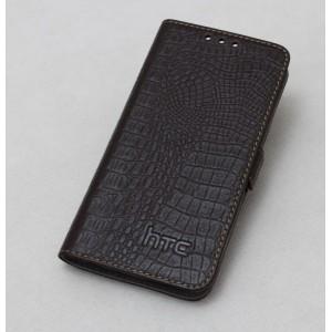 Кожаный чехол горизонтальная книжка (нат. кожа крокодила) с крепёжной застёжкой для HTC Butterfly S