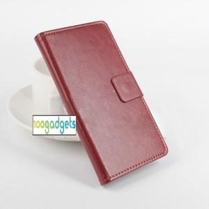 Чехол портмоне подставка глянцевой текстуры с магнитной защелкой для ASUS Zenfone Selfie Коричневый