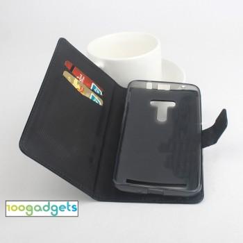 Чехол портмоне подставка глянцевой текстуры с магнитной защелкой для ASUS Zenfone Selfie