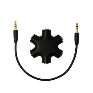 Мультиразветвитель аудиокабеля AUX дизайнерский на 5 выходов Черный