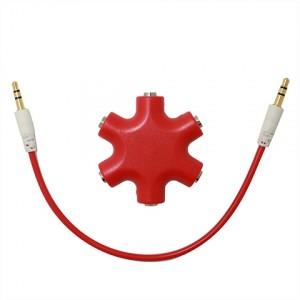 Мультиразветвитель аудиокабеля AUX дизайнерский на 5 выходов Красный