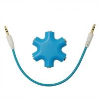 Мультиразветвитель аудиокабеля AUX дизайнерский на 5 выходов Голубой
