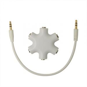 Мультиразветвитель аудиокабеля AUX дизайнерский на 5 выходов Белый