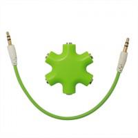 Мультиразветвитель аудиокабеля AUX дизайнерский на 5 выходов Зеленый