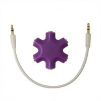 Мультиразветвитель аудиокабеля AUX дизайнерский на 5 выходов Фиолетовый