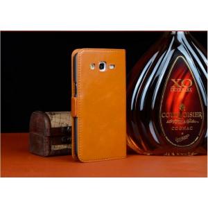 Кожаный чехол портмоне для Samsung Galaxy Core 2 Оранжевый