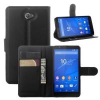 Винтажный чехол портмоне подставка на пластиковой основе с защелкой для Sony Xperia E4 Черный