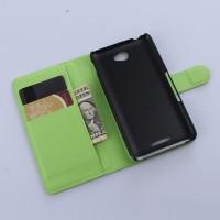 Винтажный чехол портмоне подставка на пластиковой основе с защелкой для Sony Xperia E4 Зеленый